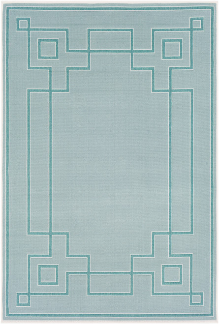 3.5' x 5.5' Teal Blue and Ivory Rectangular Area Throw Rug - IMAGE 1