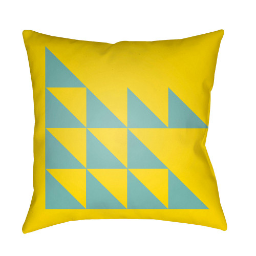 "22"" Yellow and Blue Modern Square Throw Pillow Cover - IMAGE 1"