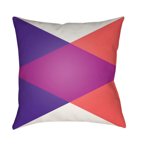 "22"" Royal Blue and Orange Geometrical Patterned Square Throw Pillow Cover - IMAGE 1"