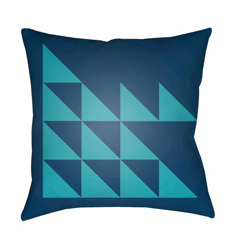 """22"""" Navy Blue and Green Modern Square Throw Pillow Cover - IMAGE 1"""