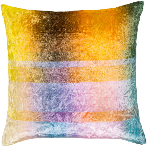 """18"""" Yellow and Pink Digitally Printed Square Crushed Velvet Throw Pillow Cover - IMAGE 1"""