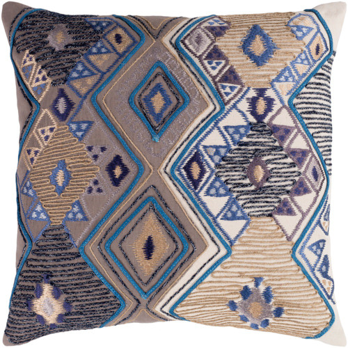 "20"" Brown and Blue Hand Embroidered Square Throw Pillow - Poly Filled - IMAGE 1"