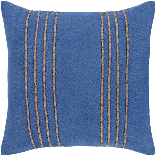 """22"""" Dark Blue and Tan Hand Embroidered Vertical Lines Pattern Square Throw Pillow Cover - IMAGE 1"""