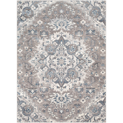 7.8' x 10.1' Motif Patterned Gray and Ivory Rectangular Area Throw Rug - IMAGE 1