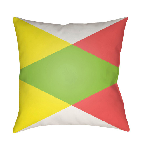 """22"""" Lemon Yellow and Red Geometrical Patterned Square Throw Pillow Cover - IMAGE 1"""