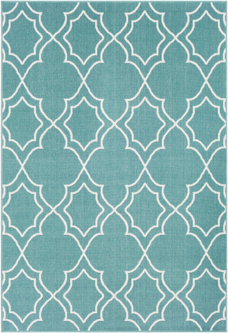 3.5' x 5.5' Moroccan Pattern Teal Blue and White Rectangular Area Throw Rug - IMAGE 1
