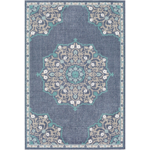 3.5' x 5.5' Floral Blue and Green Rectangular Area Throw Rug - IMAGE 1
