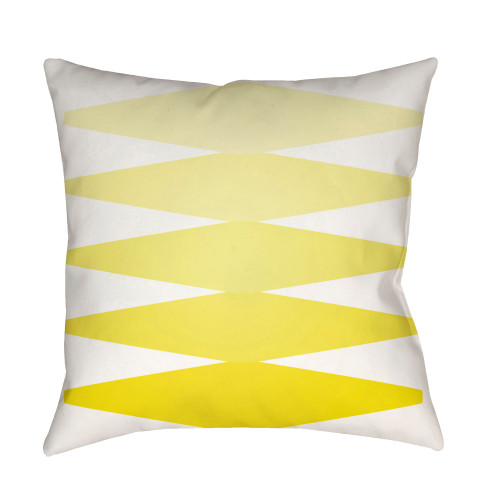 """22"""" Lemon Yellow and White Modern Square Throw Pillow Cover - IMAGE 1"""