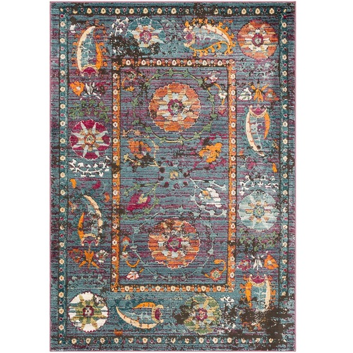 "3'11"" x 5'11"" Floral Pattern with Decorative Border Aqua Blue and Orange Rectangular Area Rug - IMAGE 1"