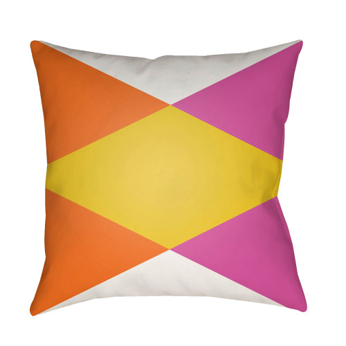 """22"""" Orange and Pink Geometrical Patterned Square Throw Pillow Cover - IMAGE 1"""