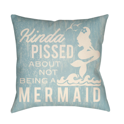 """20"""" Pale Blue and Ivory Mermaid Typography Printed Square Throw Pillow Cover - IMAGE 1"""