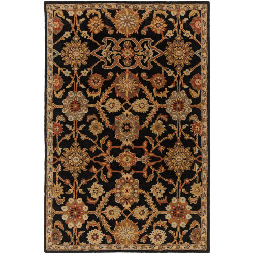 2' x 3' Onyx Black and Beige Classic Style Rectangular Area Throw Rug - IMAGE 1