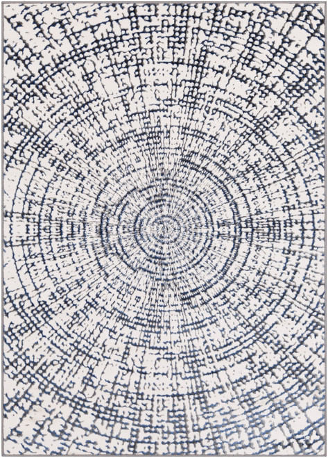 2' x 3' White and Dark Blue Concentric Circle Designed Shed-Free Area Throw Rug - IMAGE 1