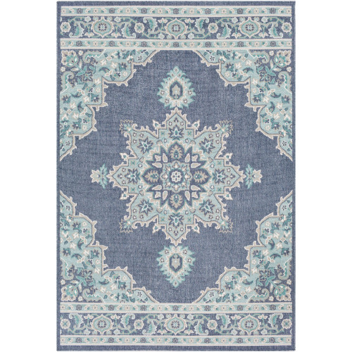 3.5' x 5.5' Antique-Style Stone Gray and Blue Rectangular Area Throw Rug - IMAGE 1