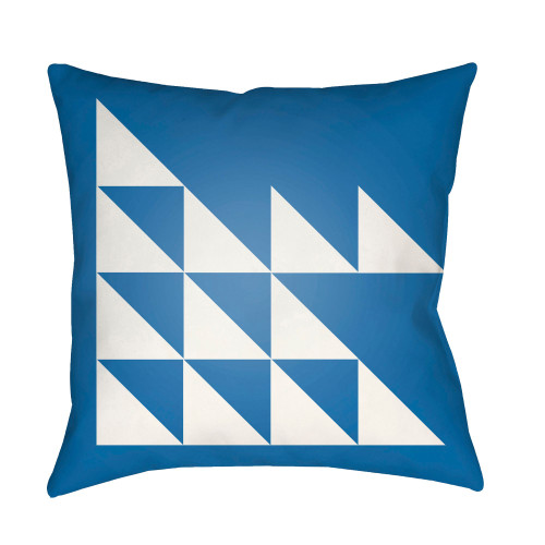 """22"""" Cobalt Blue and White Modern Square Throw Pillow Cover - IMAGE 1"""