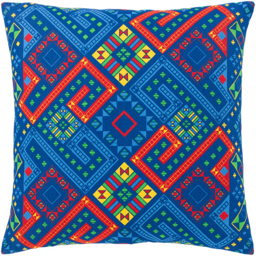 """18"""" Blue and Red Square Throw Pillow with Knife Edge - Poly Filled - IMAGE 1"""
