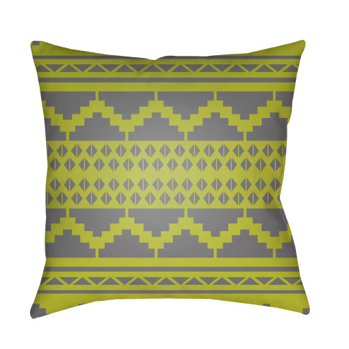 """20"""" Olive Green and Gray Square Throw Pillow Cover with Knife Edge - IMAGE 1"""