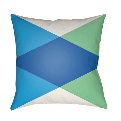 """22"""" Navy Blue and Green Geometrical Patterned Square Throw Pillow Cover - IMAGE 1"""