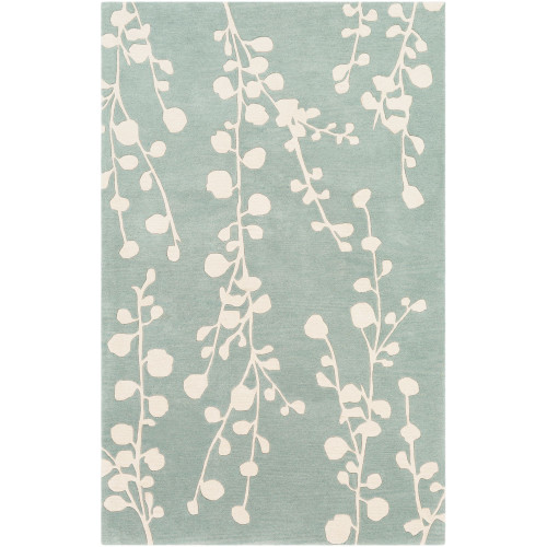 10' x 14' Contemporary Style Mint Green and Ivory Rectangular Area Throw Rug - IMAGE 1