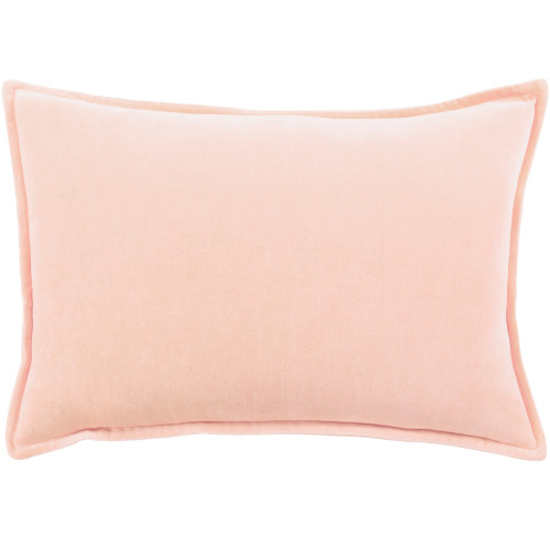 """19"""" Solid Peach Rectangular Woven Throw Pillow Cover with Flange Edge - IMAGE 1"""