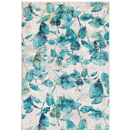 "7'9"" x 11'2"" Distressed Leaf Patterned Teal Green and Cream Rectangular Area Throw Rug - IMAGE 1"