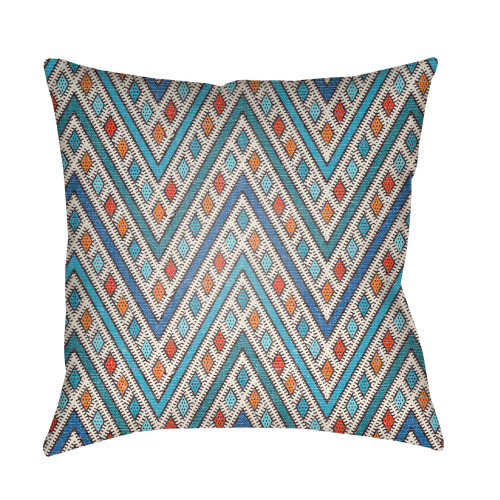 """22"""" Blue and Orange Chevron Patterned Square Throw Pillow Cover - IMAGE 1"""