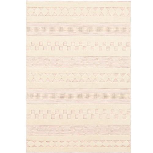 2' x 3' Geometric Pattern Pale Pink and Cream Rectangular Wool Area Rug - IMAGE 1