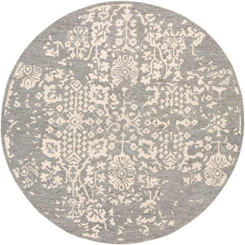 6' Floral Regal Gray and Beige Round Hand Tufted Wool Area Throw Rug - IMAGE 1