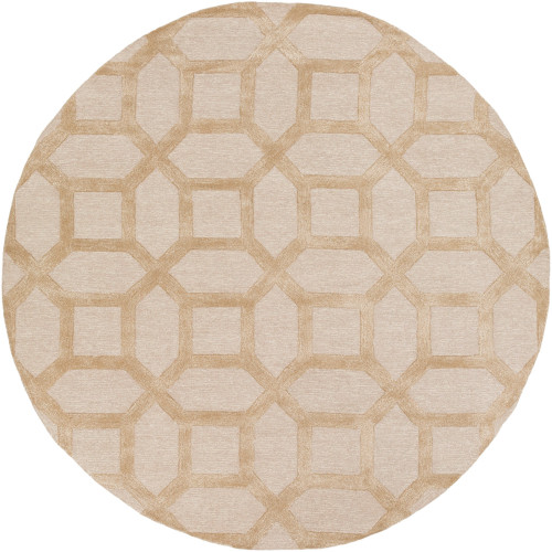 "3'6"" Hexagon Pattern Brown Round Area Rug - IMAGE 1"