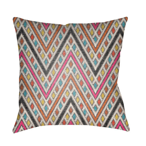 "22"" Orange and Pink Chevron Patterned Square Throw Pillow Cover - IMAGE 1"