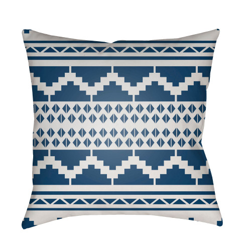"""20"""" White and Navy Blue Square Throw Pillow Cover with Knife Edge - IMAGE 1"""