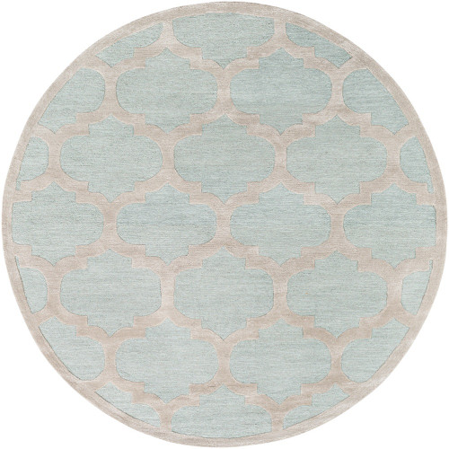 """3'6"""" Seamless Pattern Mint Blue and Beige Round Area Rug - IMAGE 1"""