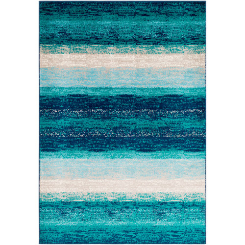 """7'9"""" x 11'2"""" Ombre Design Teal Green and Blue Rectangular Area Throw Rug - IMAGE 1"""