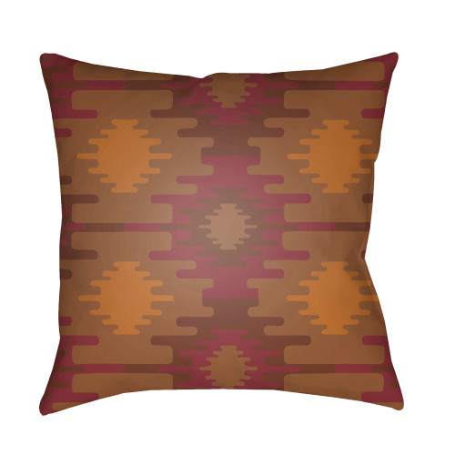 """20"""" Red and Burnt Orange Square Throw Pillow Cover - IMAGE 1"""