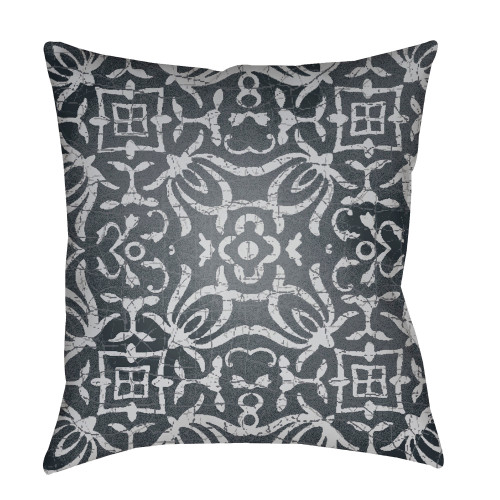 "20"" Charcoal Gray Botanical Motifs Printed Square Throw Pillow Cover with Knife Edge - IMAGE 1"