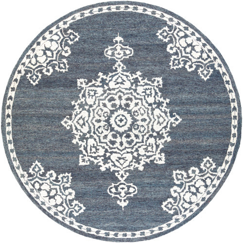 6' Floral Mandala Patterned Gray and White Round Hand Tufted Wool Area Throw Rug - IMAGE 1