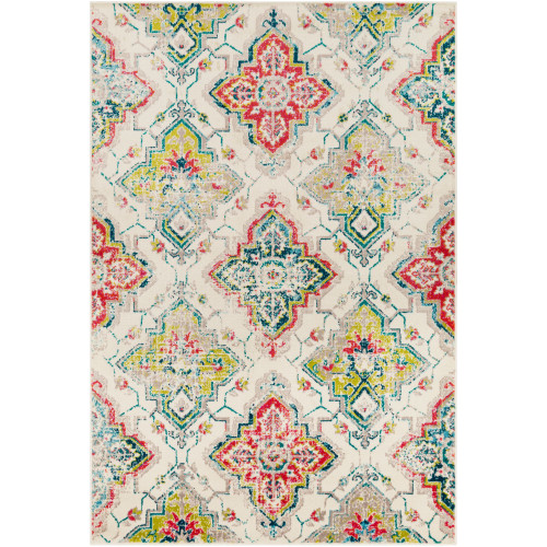 "7'9"" x 11'2"" Damask Patterned Cream and Green Rectangular Area Throw Rug - IMAGE 1"