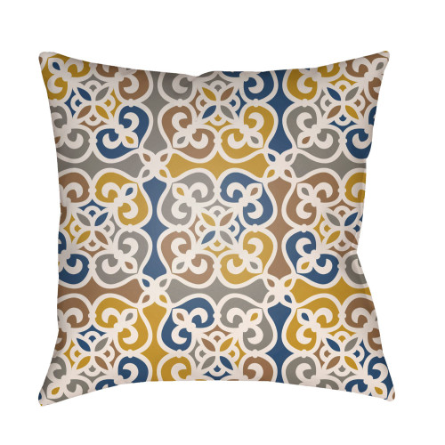 """22"""" Yellow and Gray Geometrical Patterned Square Throw Pillow Cover with Knife Edge - IMAGE 1"""