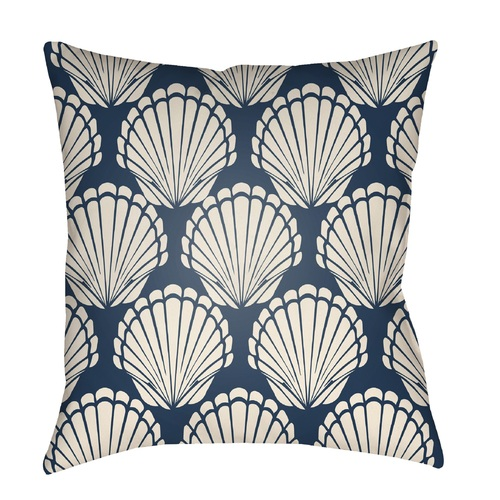 "20"" Blue and Beige Seashell Printed Square Throw Pillow Cover - IMAGE 1"
