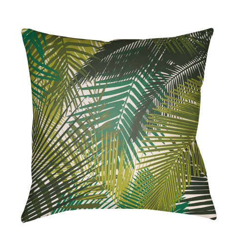 "22"" Green Tropical Patterned Square Throw Pillow Cover with Knife Edge - IMAGE 1"