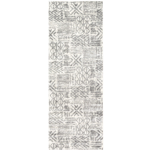 """2'7"""" x 7'3"""" Distressed Geometric Pattern Blue and Gray Machine Woven Rug Runner - IMAGE 1"""