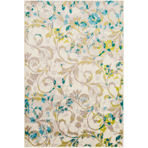 "7'9"" x 11'2"" Botanical Floral Patterned Cream and Green Rectangular Area Throw Rug - IMAGE 1"