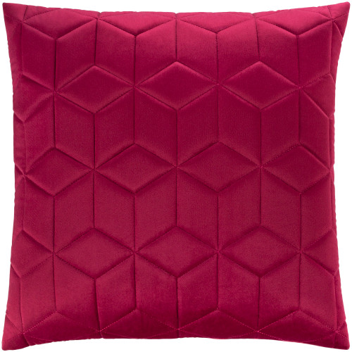 """18"""" Fuschia Geometric Stitched Pattern Square Throw Pillow Cover - IMAGE 1"""