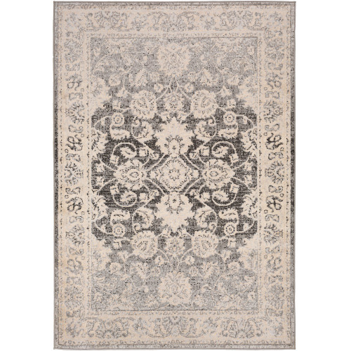 """6'7"""" x 9' Floral Pattern Ivory and Gray Rectangular Area Rug - IMAGE 1"""