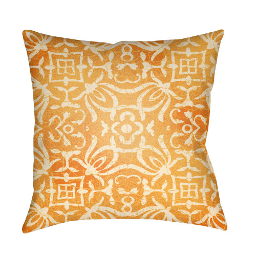 """20"""" Mustard Yellow Botanical Motifs Printed Square Throw Pillow Cover with Knife Edge - IMAGE 1"""