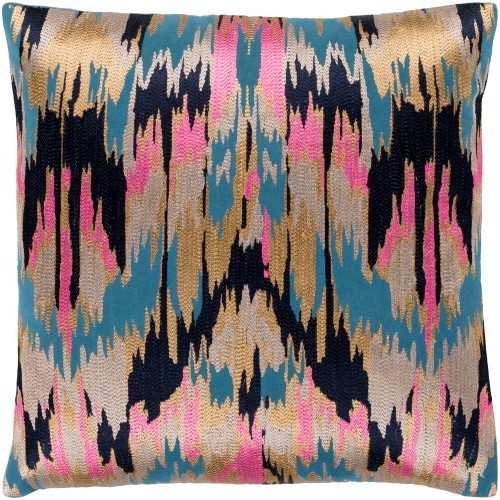 "20"" Blue and Pink Embroidered Abstract Patterned Square Throw Pillow - Down Filler - IMAGE 1"