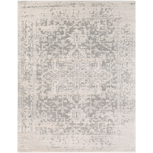 10' x 14' Distressed Gray and Beige Medallion Design Rectangular Machine Woven Area Rug - IMAGE 1