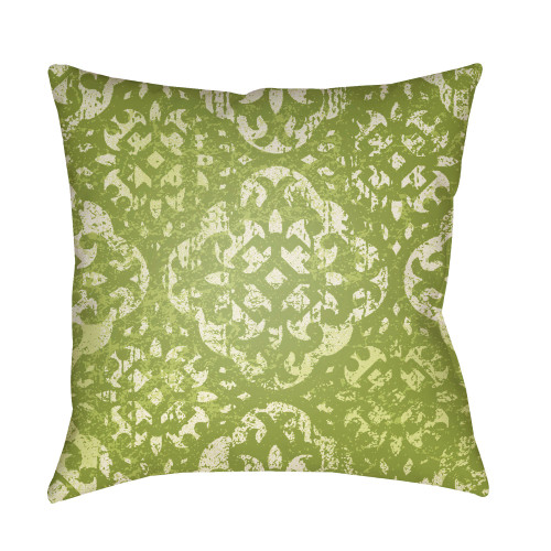 """20"""" Green and White Digitally Printed Square Throw Pillow Cover - IMAGE 1"""