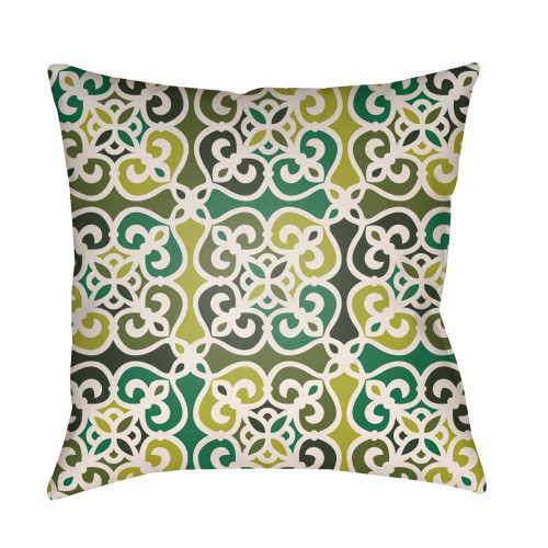 """22"""" Green Geometrical Patterned Square Throw Pillow Cover with Knife Edge - IMAGE 1"""