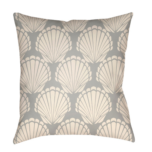 """20"""" Gray and Beige Seashell Printed Square Throw Pillow Cover - IMAGE 1"""